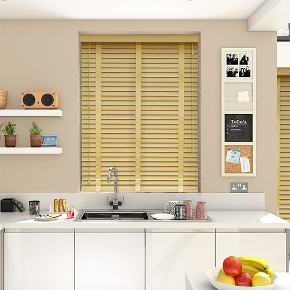 Natural & Honey Wooden Blind with Tapes - 50mm Slat