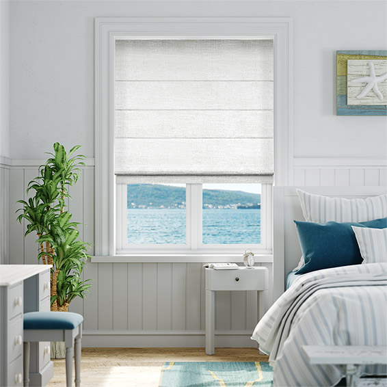 Ahisma Luxe Faux Silk Ice White Roman Blind