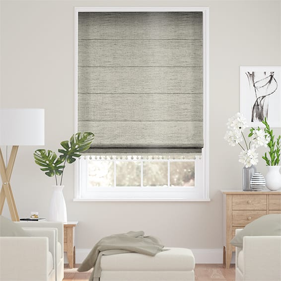 Ahisma Luxe Faux Silk Mink & Stone Trimmed Roman Blind