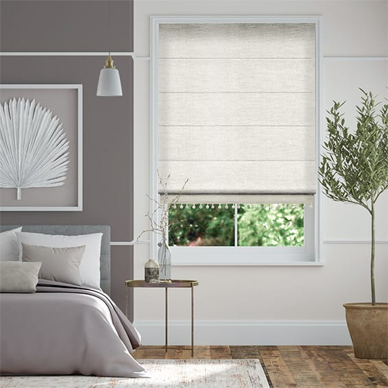 Ahisma Luxe Faux Silk Pearl & Stone Trimmed Roman Blind