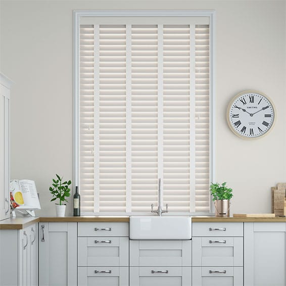 Alabaster & Vanilla Faux Wood Blind - 50mm Slat