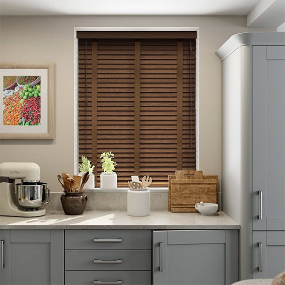 American Walnut & Walnut Wooden Blind with Tapes - 50mm Slat