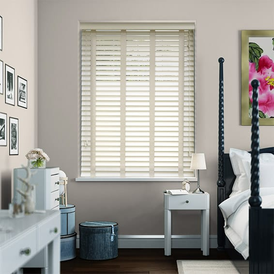 Antique White & Oyster Wooden Blind with Tapes - 50mm Slat