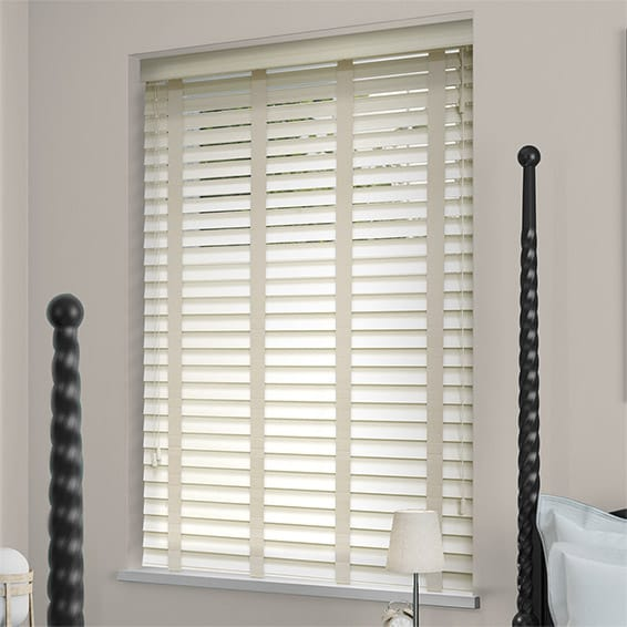 Antique White Amp Oyster Wooden Blind With Tapes 50mm Slat