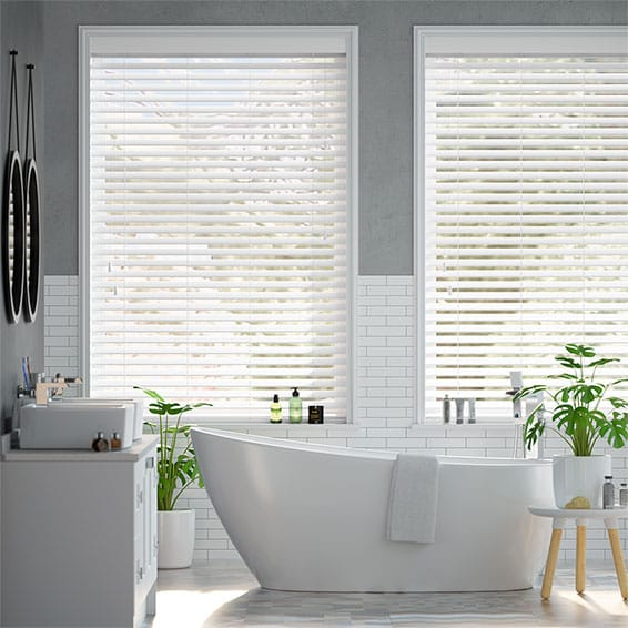 Arctic White Faux Wood Blind - 50mm Slat