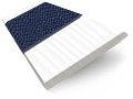 Arctic White & Navy Faux Wood Blind - 50mm Slat slat image