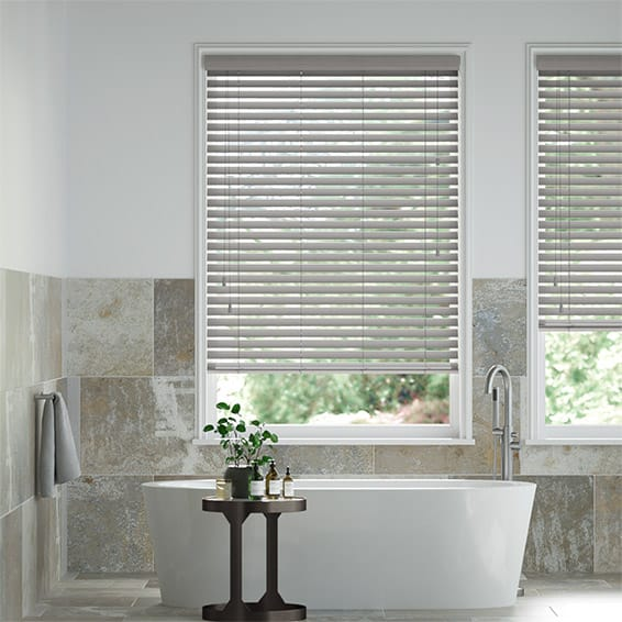 Atlanta Warm Grey Wooden Blind - 50mm Slat
