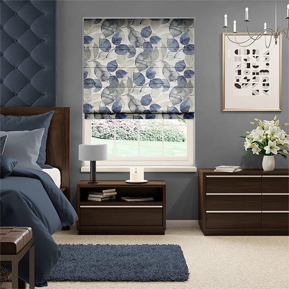Blakely Faux Silk Indigo Roman Blind