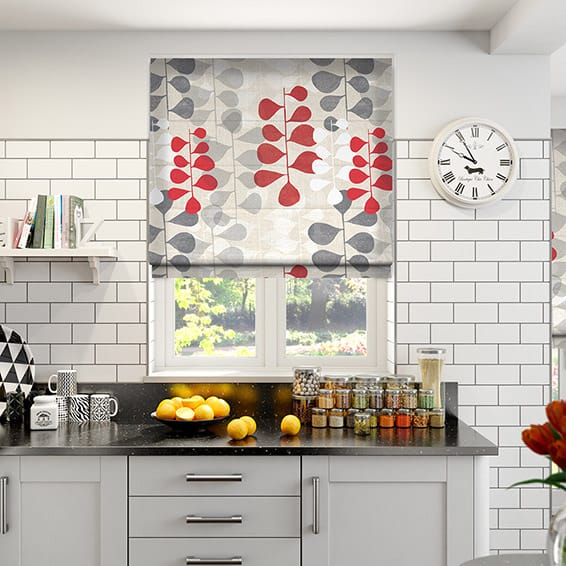Blooming Meadow Linen Ruby Roman Blind