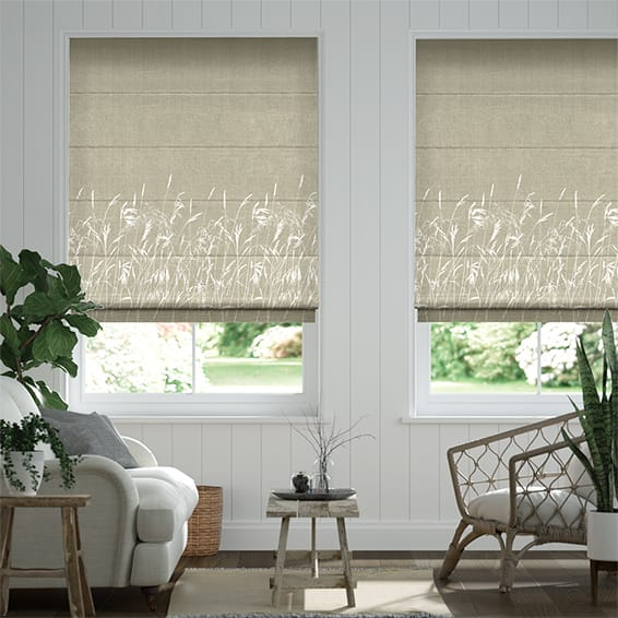 Blowing Grasses Pebble Roman Blind