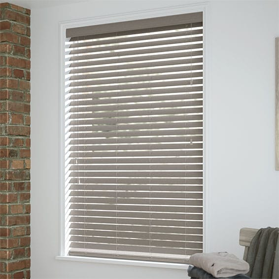 GREY WOOD VENETIAN BLINDS READY MADE WITH 50MM SLATS SOLID WOOD /& EASY FIT