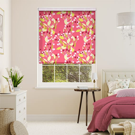 Choices Bursting Berries Linen Punch Pink Roller Blind