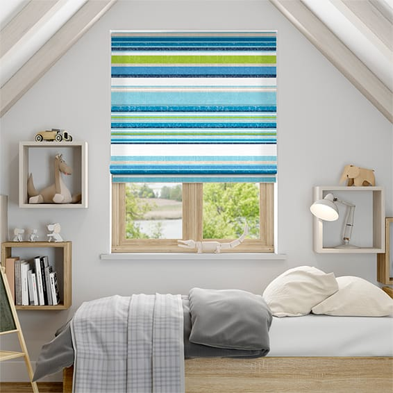 Calcutta Stripe Lake Blue Roman Blind
