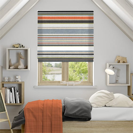 Calcutta Stripe Olive Roman Blind