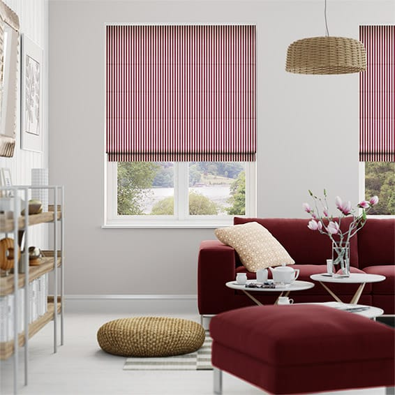 Candy Stripe Cherry Roman Blind