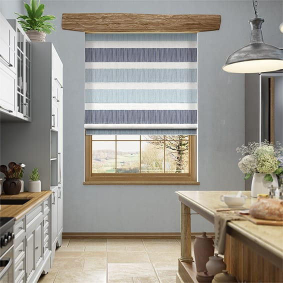 Cardigan Stripe Blue Horizon Roman Blind
