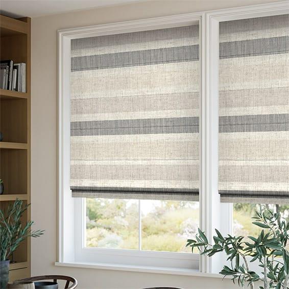 Cardigan Stripe Linen Stone Roman Blind