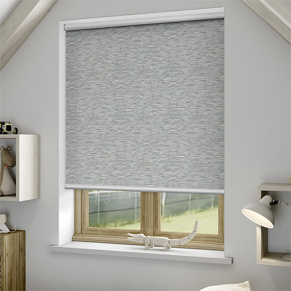 Grey Roman Shades With Curtains