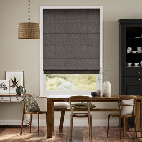 White Kitchen Roller Blinds: Cavendish Grey Taupe Roman Blind