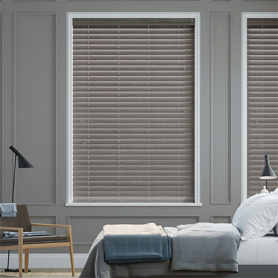 Ash Grey Faux Wood Blind - 50mm Slat