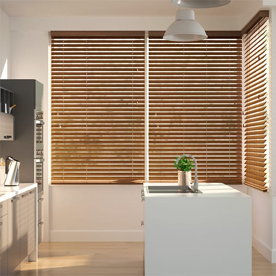 Chestnut Faux Wood Blind - 50mm Slat