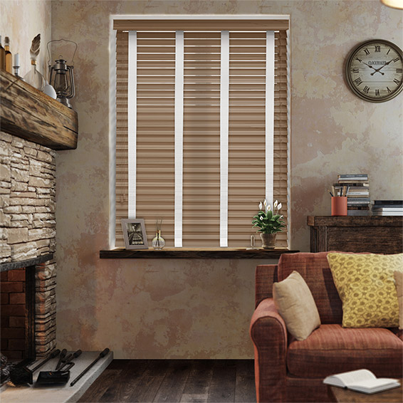 Chestnut & Chalk Faux Wood Blind - 50mm Slat
