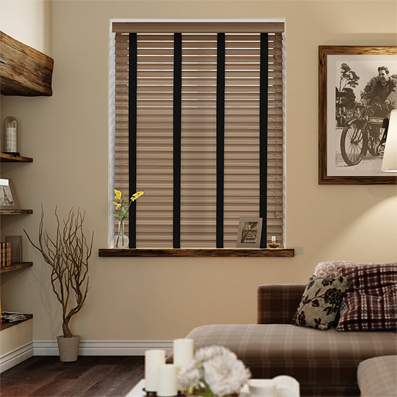 Chestnut & Jet Faux Wood Blind - 50mm Slat