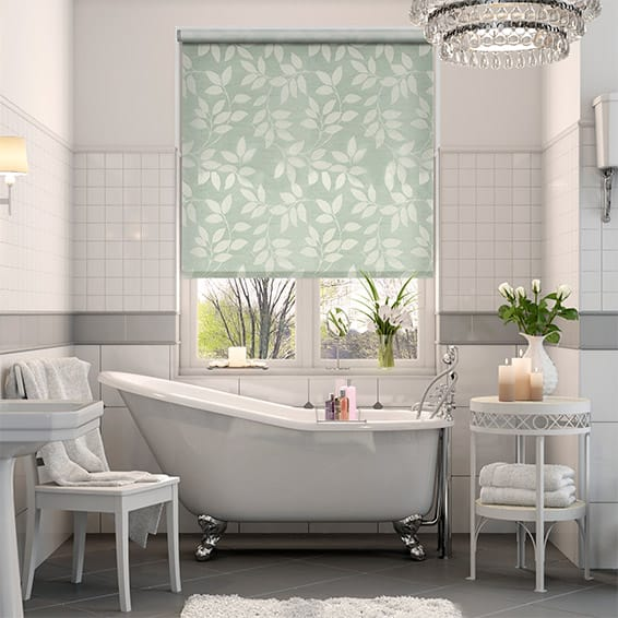 Leaf Design Roller Blind In Duck Egg Blue