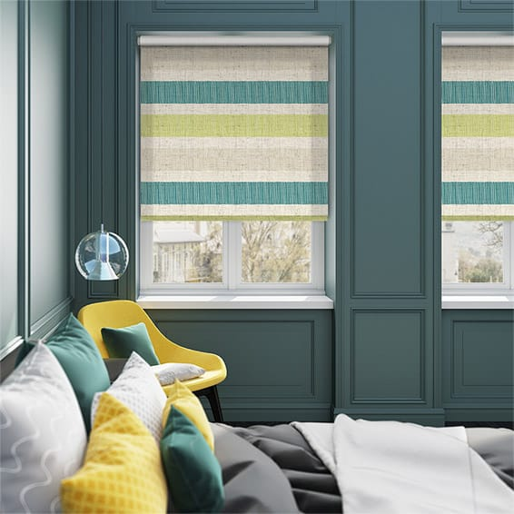 Choices Cardigan Stripe Linen Sea Green Roller Blind