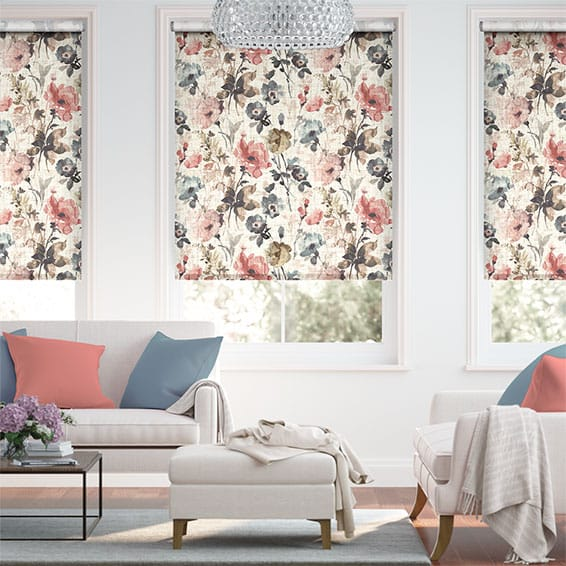 Choices Fiori Linen Vintage Rose Roller Blind