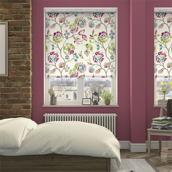 Choices Floral Ink Linen Punch Roller Blind