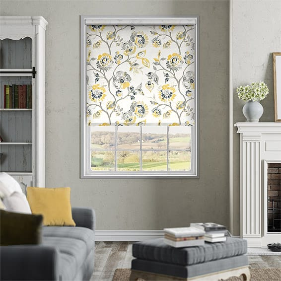 Choices Floral Ink Linen Graphite Roller Blind