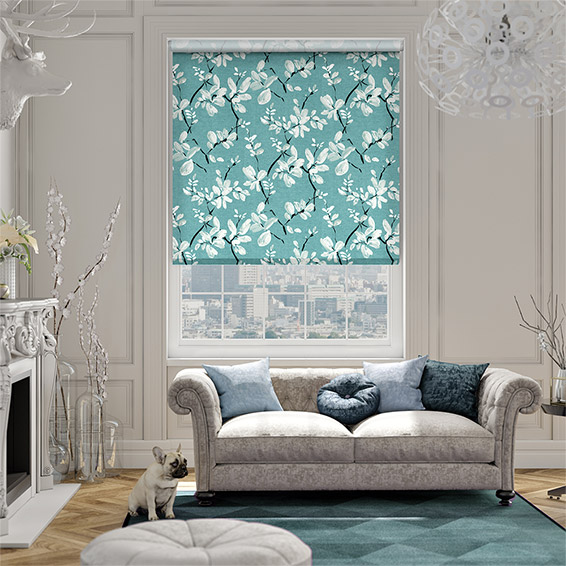 Choices Madelyn Linen Tropical Blue Roller Blind