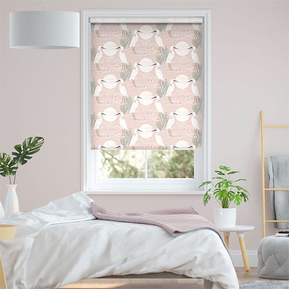 Choices Moonlit Cranes Linen Rose Roller Blind