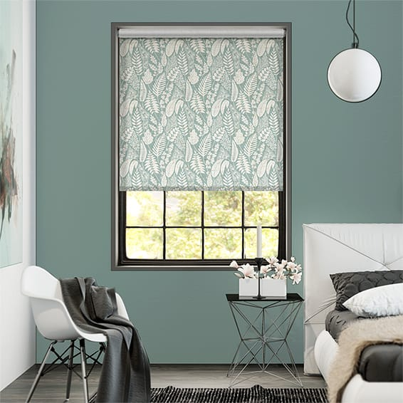 Choices Scandi Ferns Vintage Linen Aqua Roller Blind