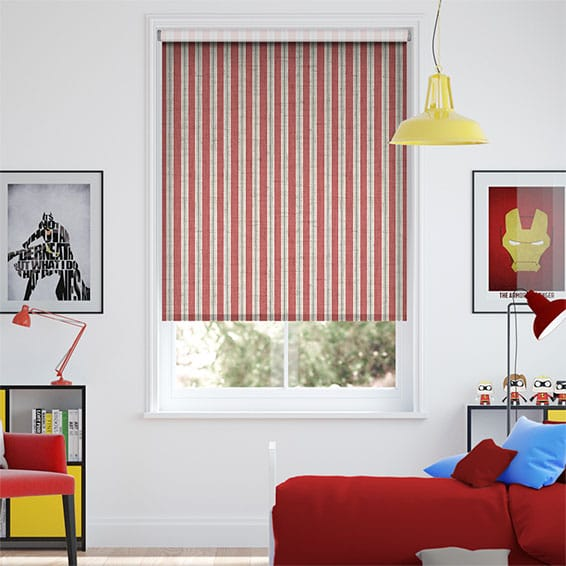 Choices Twill Stripe Linen Party Red Roller Blind