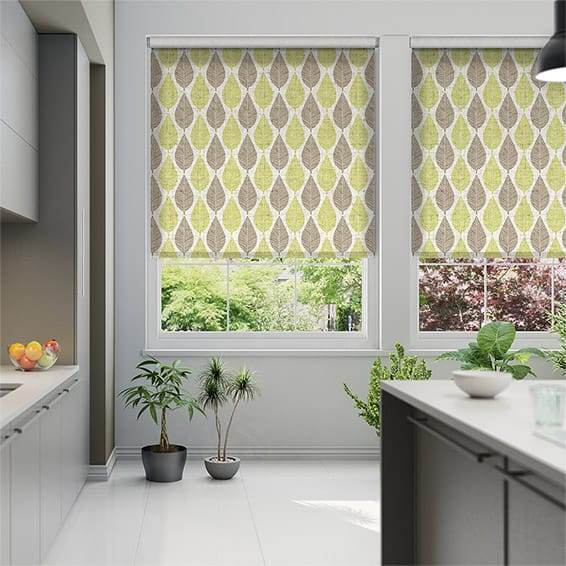 Choices Winter Leaf Linen Spring Green Roller Blind