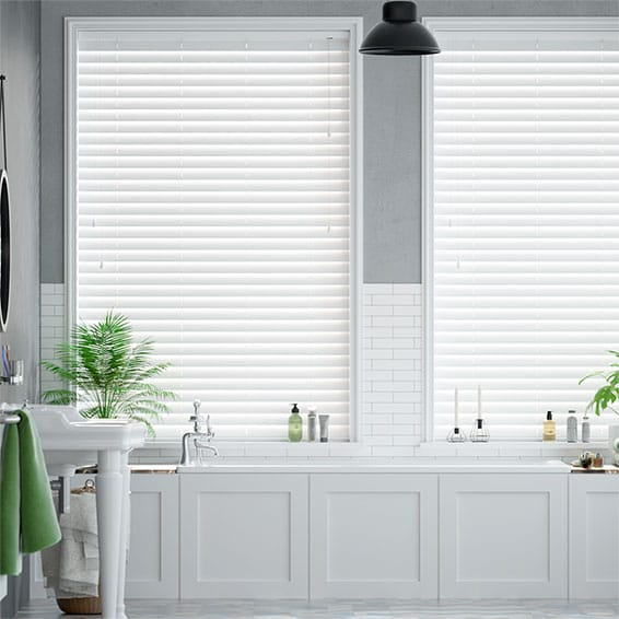 Classics Simply White Faux Wood Blind - 50mm Slat