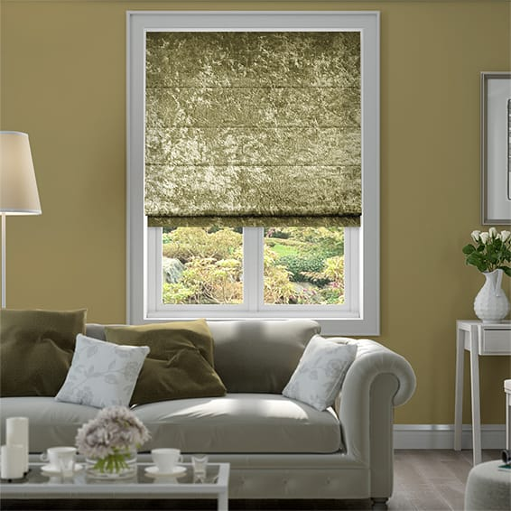 Crushed Velvet Antique Gold Roman Blind