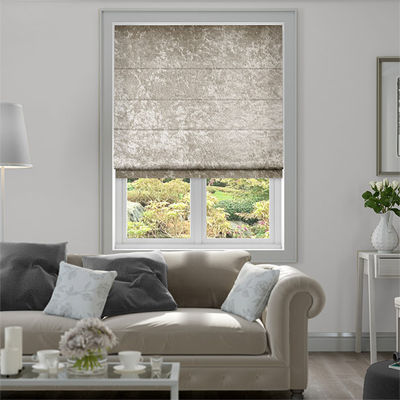 Crushed Velvet Light Bronze Roman Blind