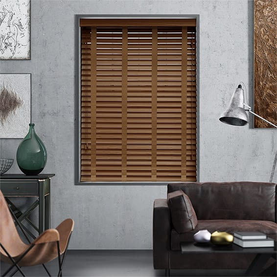 Cuban Oak & Tan Faux Wood Blind - 50mm Slat