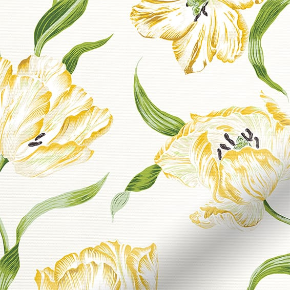 Dancing Tulips Green Roller Blind