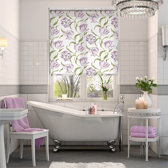 Dancing Tulips Lilac Roller Blind