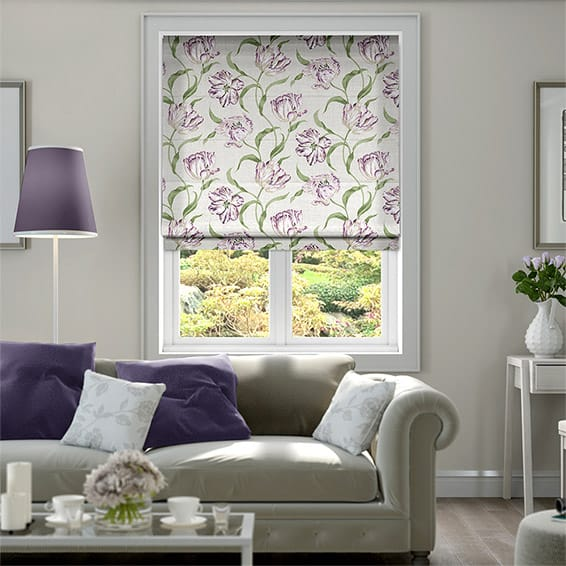 Dancing Tulips Lilac Roman Blind