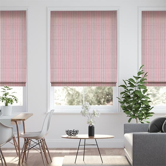 Devon Stripe Red Roman Blind
