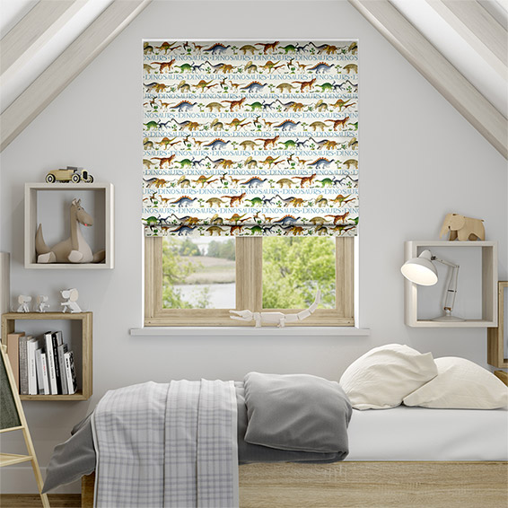Dinosaurs Cream Roman Blind