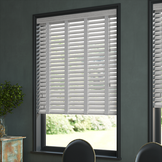 Dove Madera & Quicksilver Faux Wood Blind - 50mm Slat