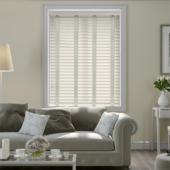 Eggshell & Nickel Faux Wood Blind - 50mm Slat