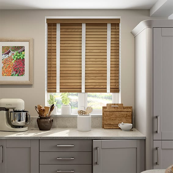 English Oak & Linen Wooden Blind with Tapes - 50mm Slat