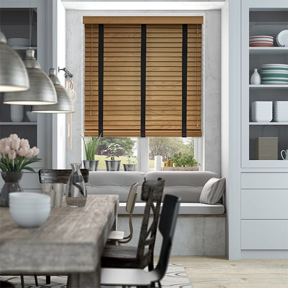English Oak & Obsidian Wooden Blind with Tapes - 50mm Slat